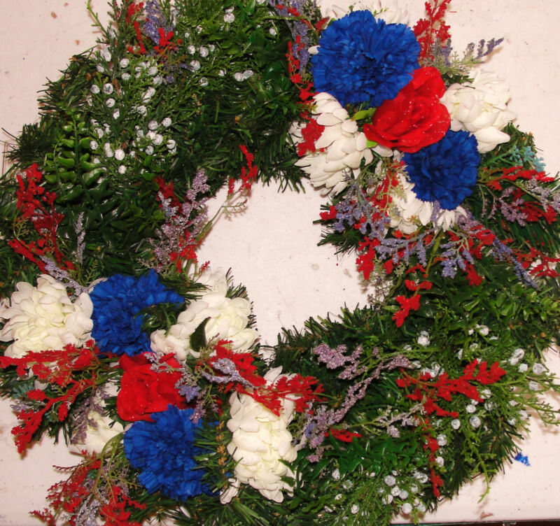 Sympathy Funeral Graveyard Headstone Wreath Patriotic Memorial Flowers Veteran