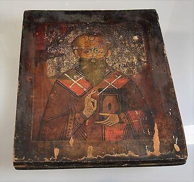 Hl. Nikolaus der Wundertäter alte handgemalte Russische Ikone 19 Jh. ICON