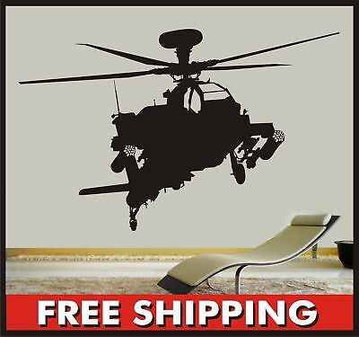 Sticker Association contact Helicopter Apache Bedroom boys nursery decal wall art home