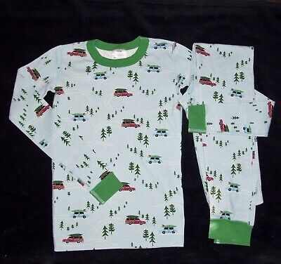 Hanna Andersson Boy Girl Size 160 US 14 Xmas Car Tree Snow Long John Pajamas ](Girls Size 14 Christmas Pajamas)
