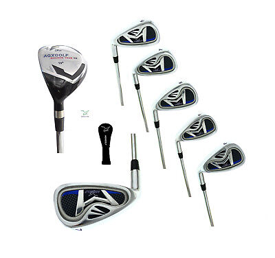 AGXGOLF BOYS LEFT HAND (ALL LENGTHS) XLT IRON SET 3 HYBRID; 5,6,7,8 & 9 IRONS+PW ()