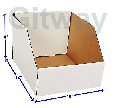 25 Pcs 10 X 12 X 8 Corrugated Cardboard Open Top Storage Parts Bin Bins Boxes