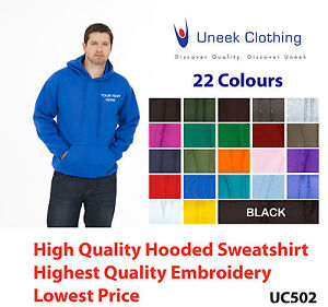 Custom embroidered Hoodie Sweatshirt Uneek UC502 Personalised with your text