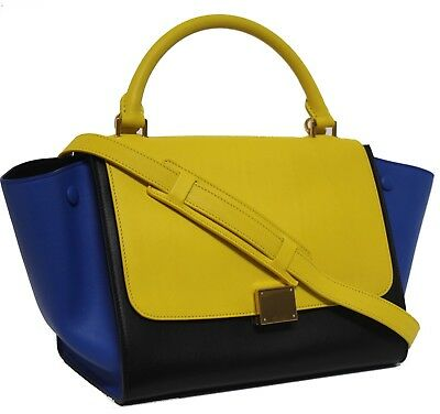 New Celine Runway Sunflower Tricolor Small Trapeze Luggage Leather Bag