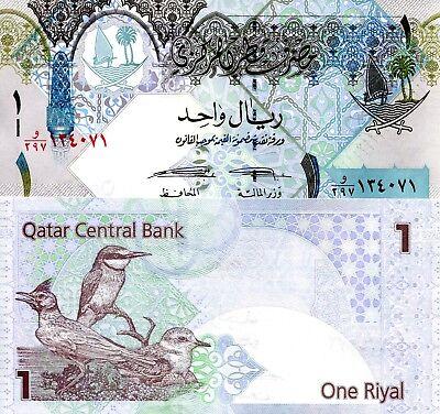 QATAR 1 Riyal Banknote World Paper Money UNC Currency Pick p28 2008 - 2015 (2008 Cream)