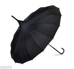 XL Pagodenschirm schwarz mit Seidenglanz Regenschirm Pagode Schirm 16 Speichen