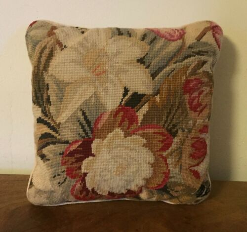 Antique Needlework Needlepoint Floral Tapestry Pillow Textile 19th century