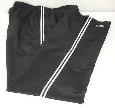 Reebok Mens Mesh Lined Track Suit Pants Black White Stripe Lightweight - Lightweight Mesh Suit