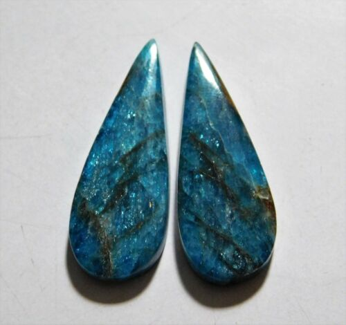 36.65 Cts Natural Apatite (33mm X 12mm each) Cabochon Match Pair