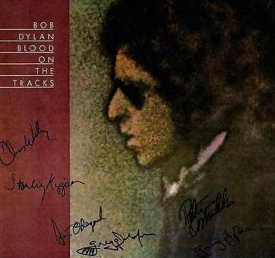 BLOOD ON THE TRACKS  SIGNED AUTOGRAPH LP ALBUM BY RECORDING ALUMNI-BOB DYLAN