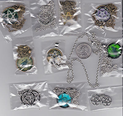 YOU GET LOT OF 10 PENTAGRAM pendant necklace and earrings jewelry - - C 20