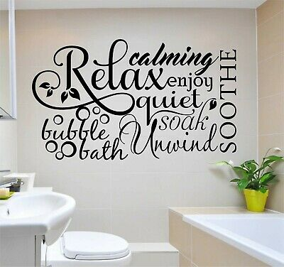 Bubbles Wall Art - BUBBLE BATH RELAX Bathroom Quote Wall Art Decal Words Lettering Decor