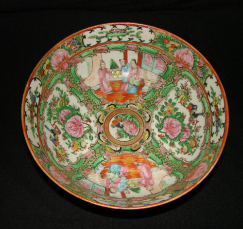 Antique Large Famille Rose Chinese Porcelain Bowl - 8 inch diameter