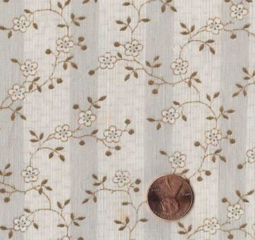 Antique 1890 Gray Stripes with Flowers & Vines Fabric