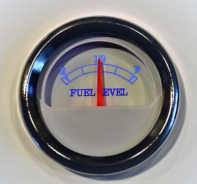Fuel Gauge Bezel -  Fuel level Gauge 52mm white w/ chrome bezel 10 - 180 ohms Blue LED