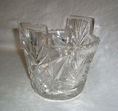 Antique American Brilliant Period Abp Fry Whirling Star Cut Glass Ice Bucket