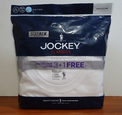 - Jockey 4-Pack Men's Classic Collection 100% Cotton Crew-Neck T-Shirt White