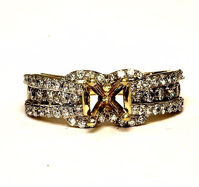 14k yellow gold 1.07ct VS G princess diamond engagement semi mount 4.5g ring