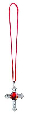 Halskette Kreuz Rubin Rot Silber Necklace Halloween Kette Schlagermove 74539