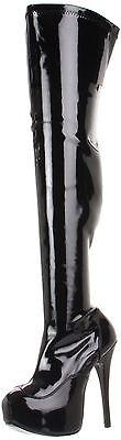 PLEASER BORDELLO Teeze-3000 Platform Stretch Thigh High Boots Black Women - Womens Teeze Boot