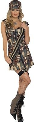 Damen Sexy Armee Tarnfarbe Militär Hen Abend Party Kostüm Kleid Outfit