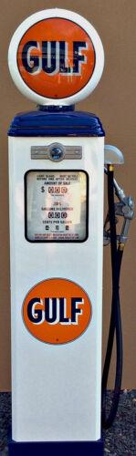 NEW GULF  REPRODUCTION GAS PUMP - ANTIQUE OIL  REPLICA (WHITE & BLUE) FREE SHIP*