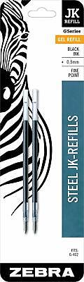 2 Zebra 88012 Jk Refills Fine Point 0.5 Mm Black 0.5mm For G-402 G402 Metal Pens