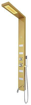 Four Body Jets - Nezza Sia Shower Panel with Light,Spout,Hand Shower,Four Body Jets - Mirror Gold