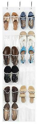 Clear Over the Door Shoe Organizer, 24 Mesh Pockets, Hanging Shoe Organizer