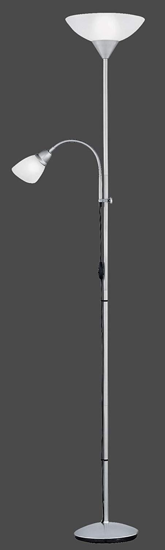 Trendiger Deckenfluter mit Lesearm / LED möglich / silber / 1 x E27 / R4393-87