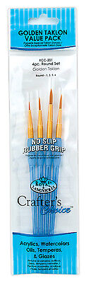 Royal Crafters Choice Brush Sets Gold Taklon Artist  Filbert Round Shader Etc