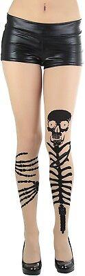 ToBeInStyle Women's Skeleton Grabbing Leg Look Spandex Tights - Skeleton Leg Tights
