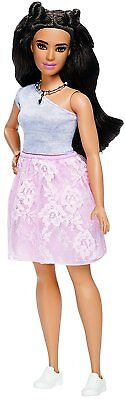 Barbie Fashionistas #65 Pink Lace Skirt Doll Curvy Body Dark Brown Hair
