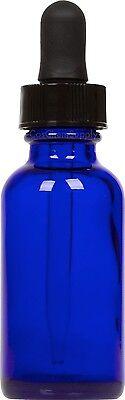 25 Pack Cobalt Blue Glass Boston Round Bottle W Black Glass Dropper 1 Oz