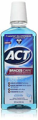 ACT Braces Care Anti-Cavity Fluoride Mouthwash, Clean Mint,
