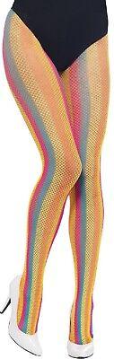 Damen Regenbogen Gestreift Fischnetz Pride Karneval Kostüm Outfit - Fischnetz Strumpf Kostüm