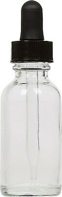 6 Pack Clear Glass Boston Round Bottle W Black Glass Dropper 1 Oz