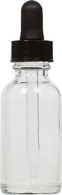 6 Pack Clear Glass Boston Round Bottle W Black Glass Dropper 1 Oz