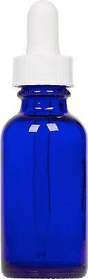 Cobalt Blue Glass Boston Round Bottle W White Glass Dropper 1 Oz