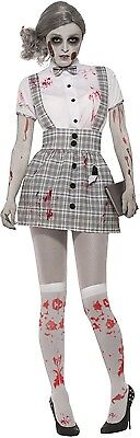 Ladies Sexy Zombie School Girl Halloween Horror Fancy Dress Costume Outfit