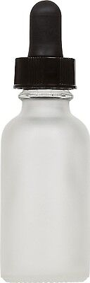 6 Pack Frosted Glass Boston Round Bottle W Black Glass Dropper 1 Oz