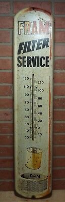 Old Fram Filter Service Oil Air Adv Thermometer Sign Gas Auto Providence Ri Usa