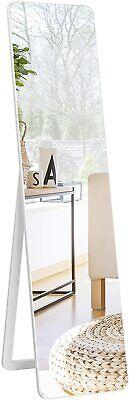 Specchiera da Terra Autoportante a Figura Intera, Specchio Rettangolare, Bianco
