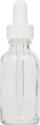 Clear Glass Boston Round Bottle W White Glass Dropper 1 Oz