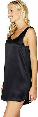 INTIMO Womens Silk Tank Chemise Sleep Top, Black, Medium