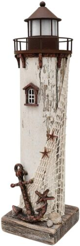 Wooden Lighthouse Decor with Light, Decorative Handcrafted Nautical Lighthouse