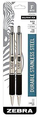 Zebra Pen F-402 Ballpoint Stainless Steel Retractablefine Point0.7mmblack2ct