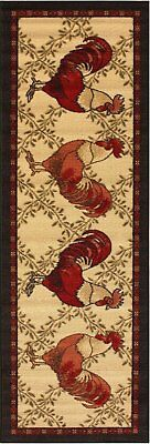 """Anti bacterial Country Style Rooster Non Skid Runner Rug 2x5, 20""""x59"""""""