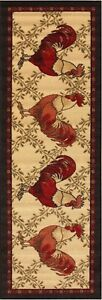 Anti bacterial Country Style Rooster Non Skid Runner Rug 2x5, 20
