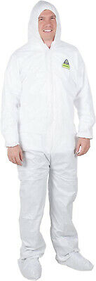 Disposable Coveralls With Hood Protective Suit Microporous Elastic Wrist 2